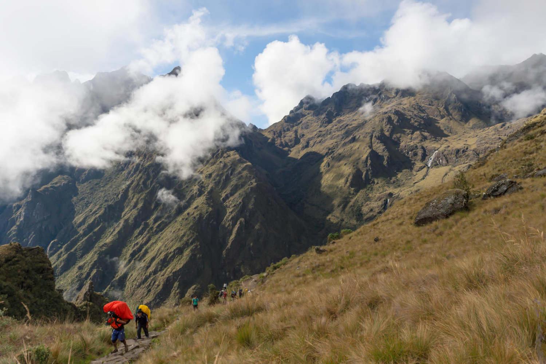 Porters walking the Inca trail to Machu Picchu