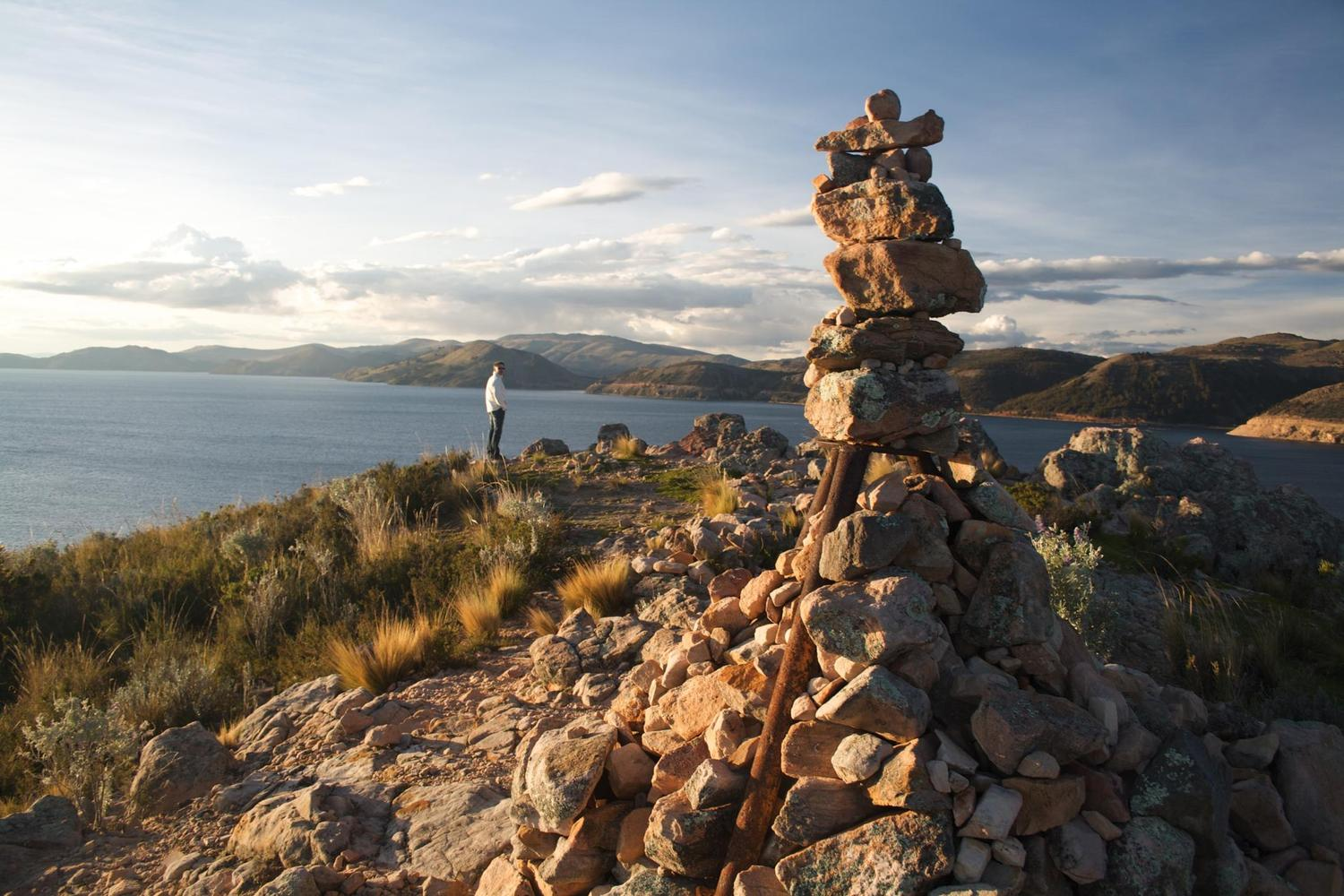 Sunset over Lake Titicaca from the top of Suasi Island