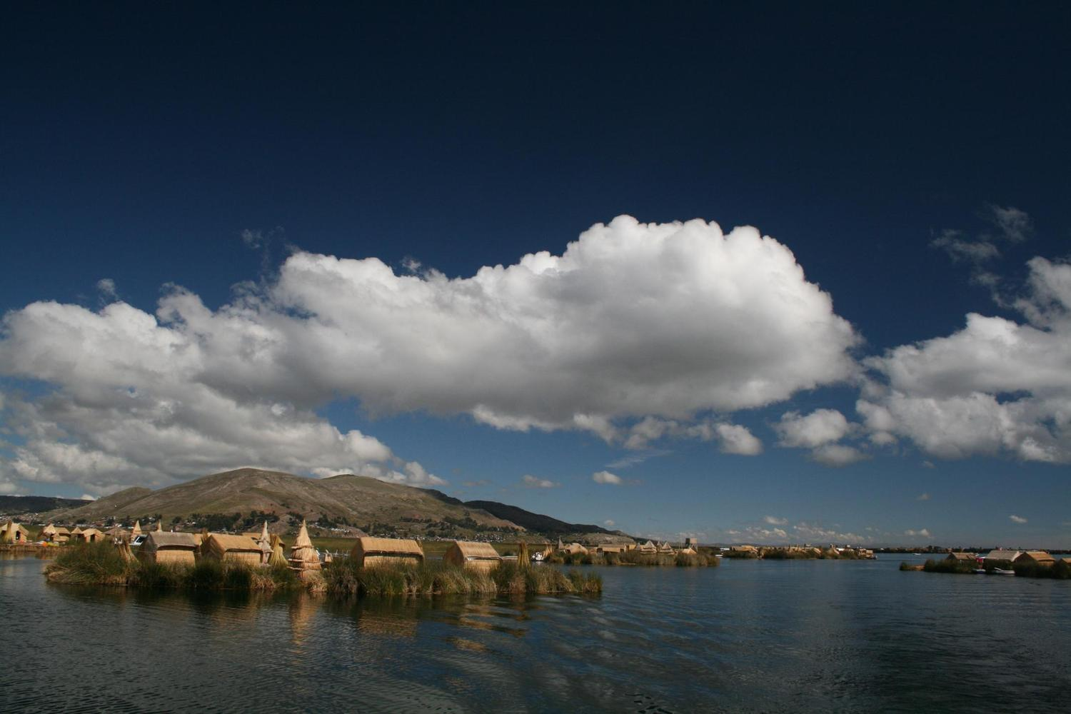 The saturated skies of Lake Titicaca and the Uros floating islands