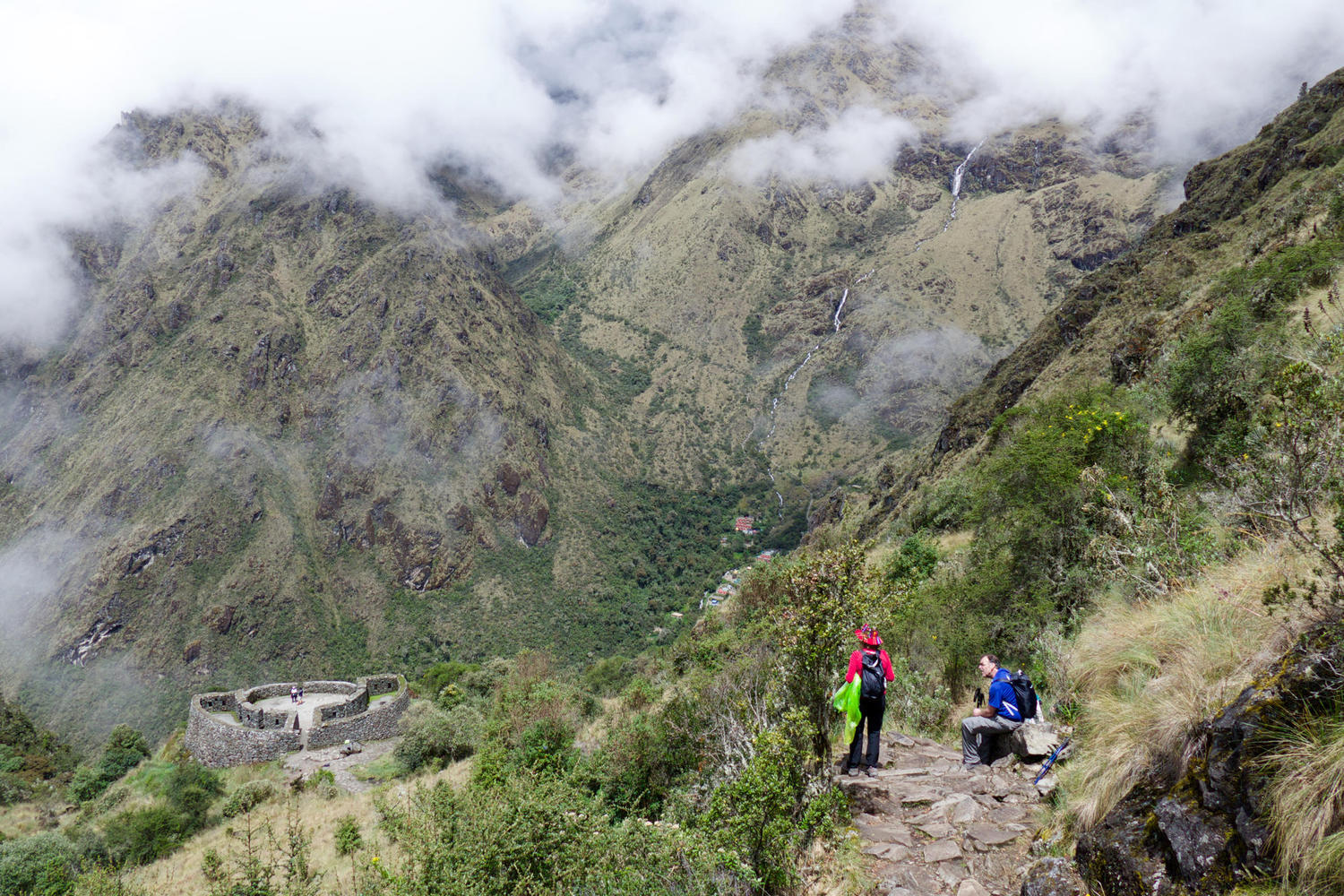 Spectacular views from the trail above Runcurakay on Day 3 of the Inca Trail