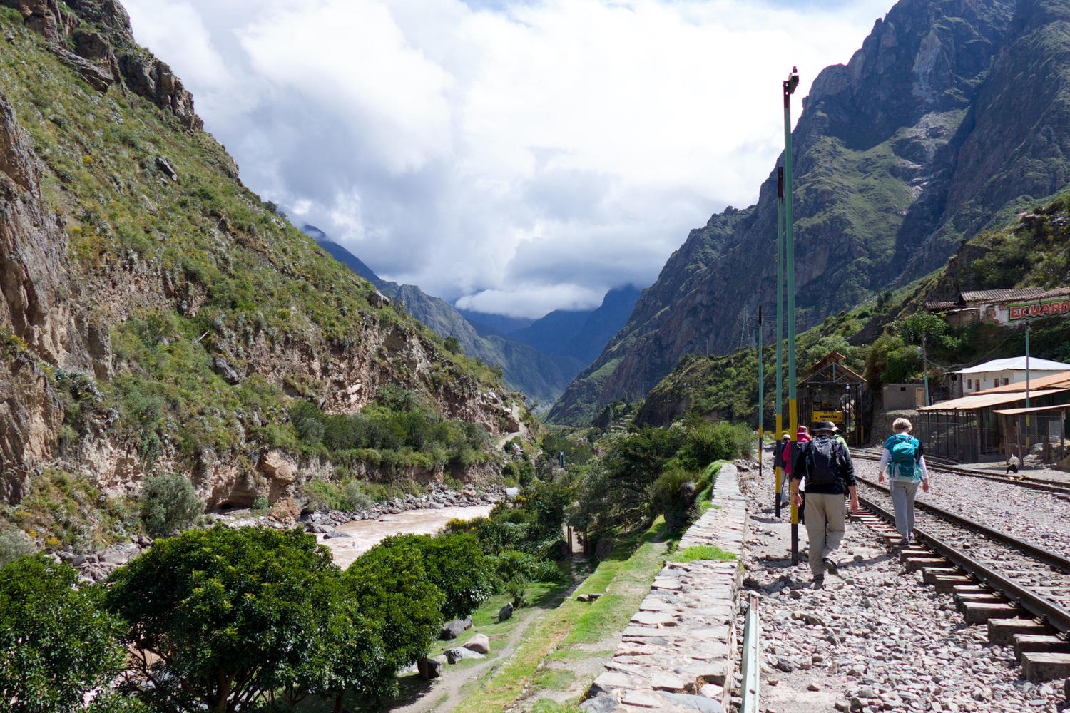 Walking towards the bridge over the Urubamba River that marks the start of the Inca Trail