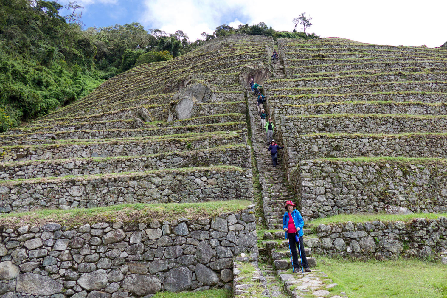 Walking through the ruins of Intipata on the last day of the Inca Trail
