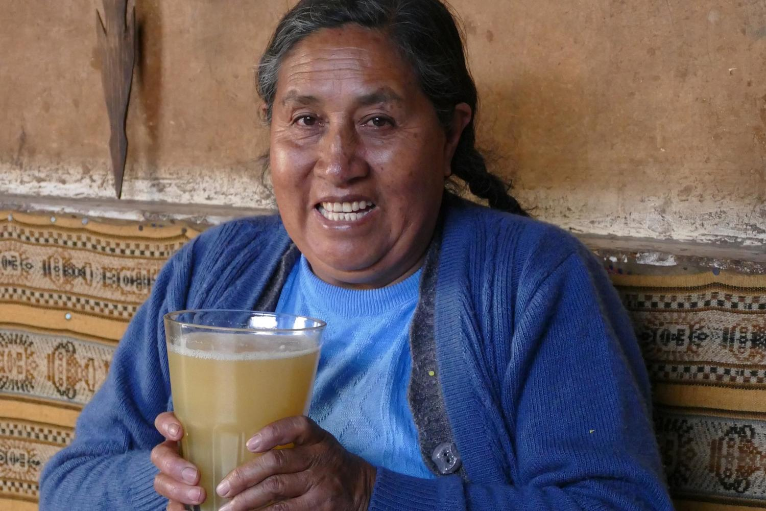 Mercedes enjoying a Chicha in the Sacred Valley