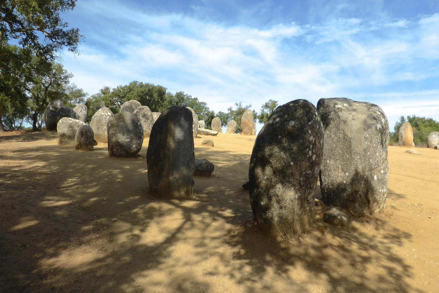 The prehistoric Cromlech des Almendres near Evora