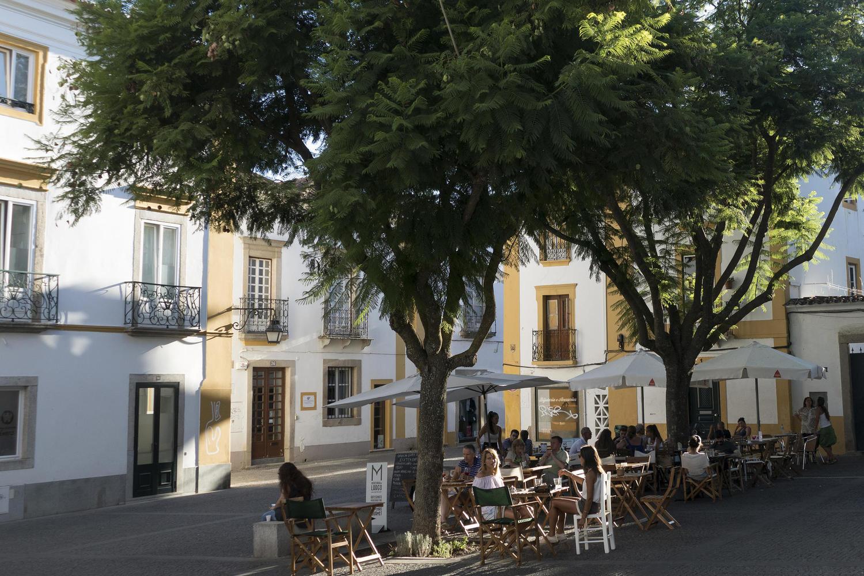 A shady square in Évora