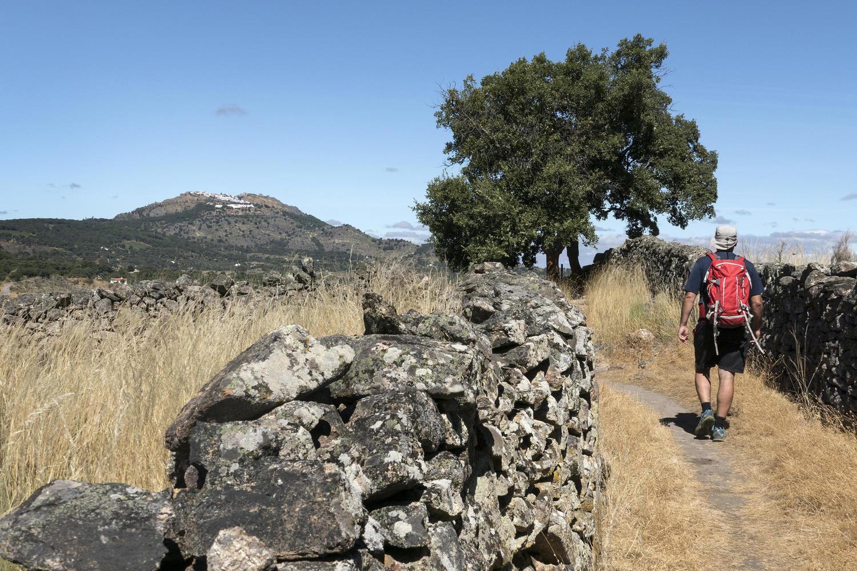 Walking towards the hilltop village of Marvao