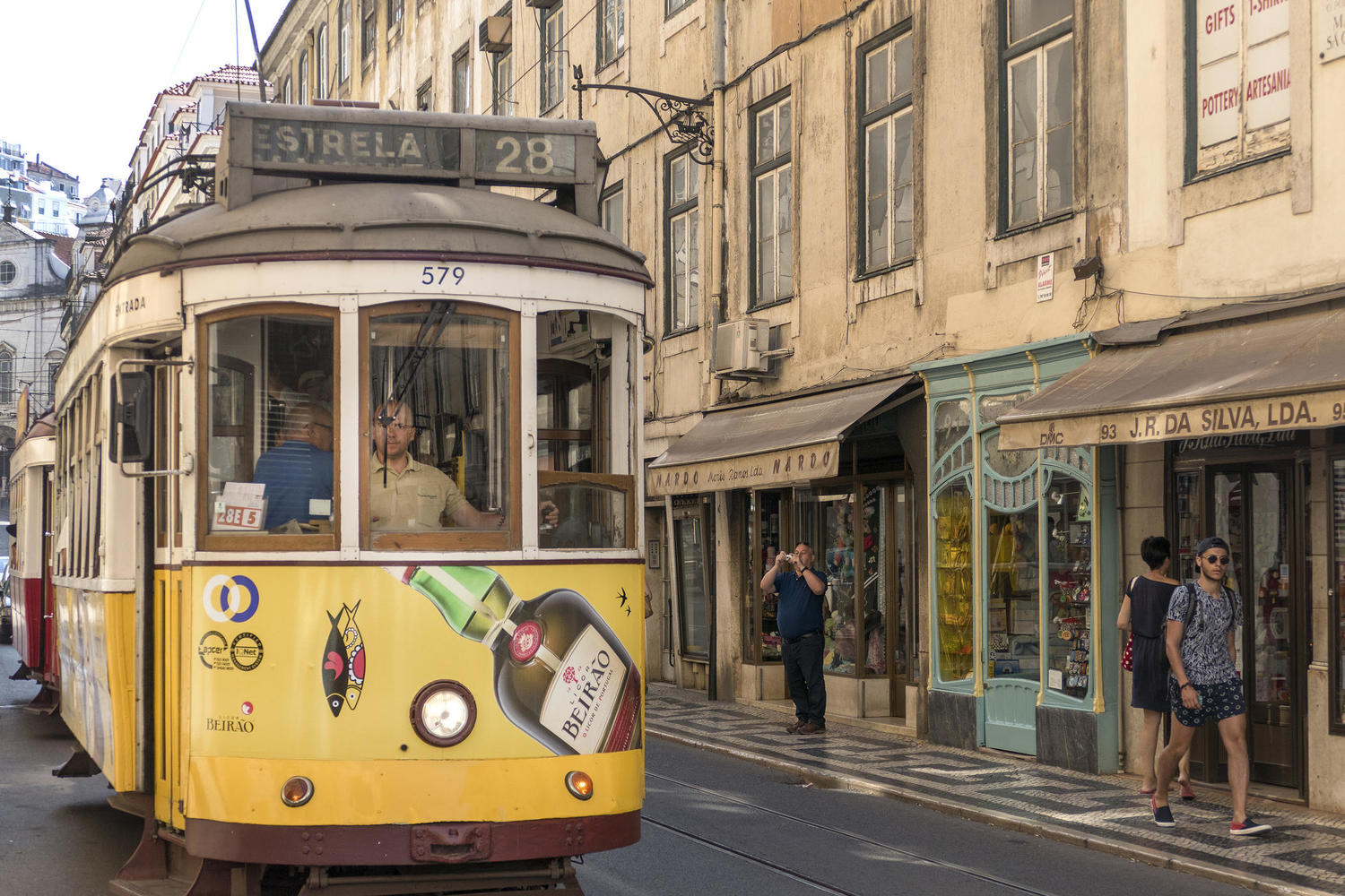 Trams ply the streets of Portugal's capital