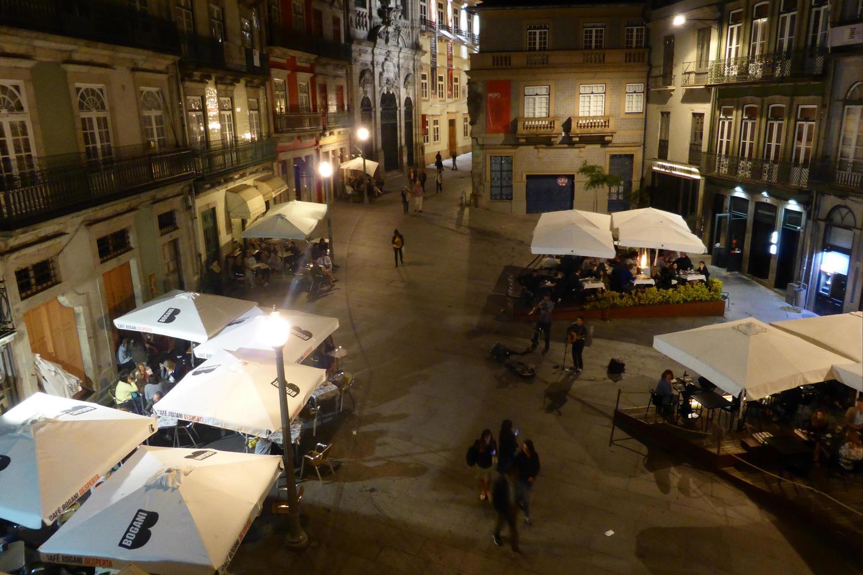 Largo de Sao Domingo at night in Porto