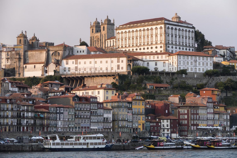 Sunset over the Ribeira bairro of Porto