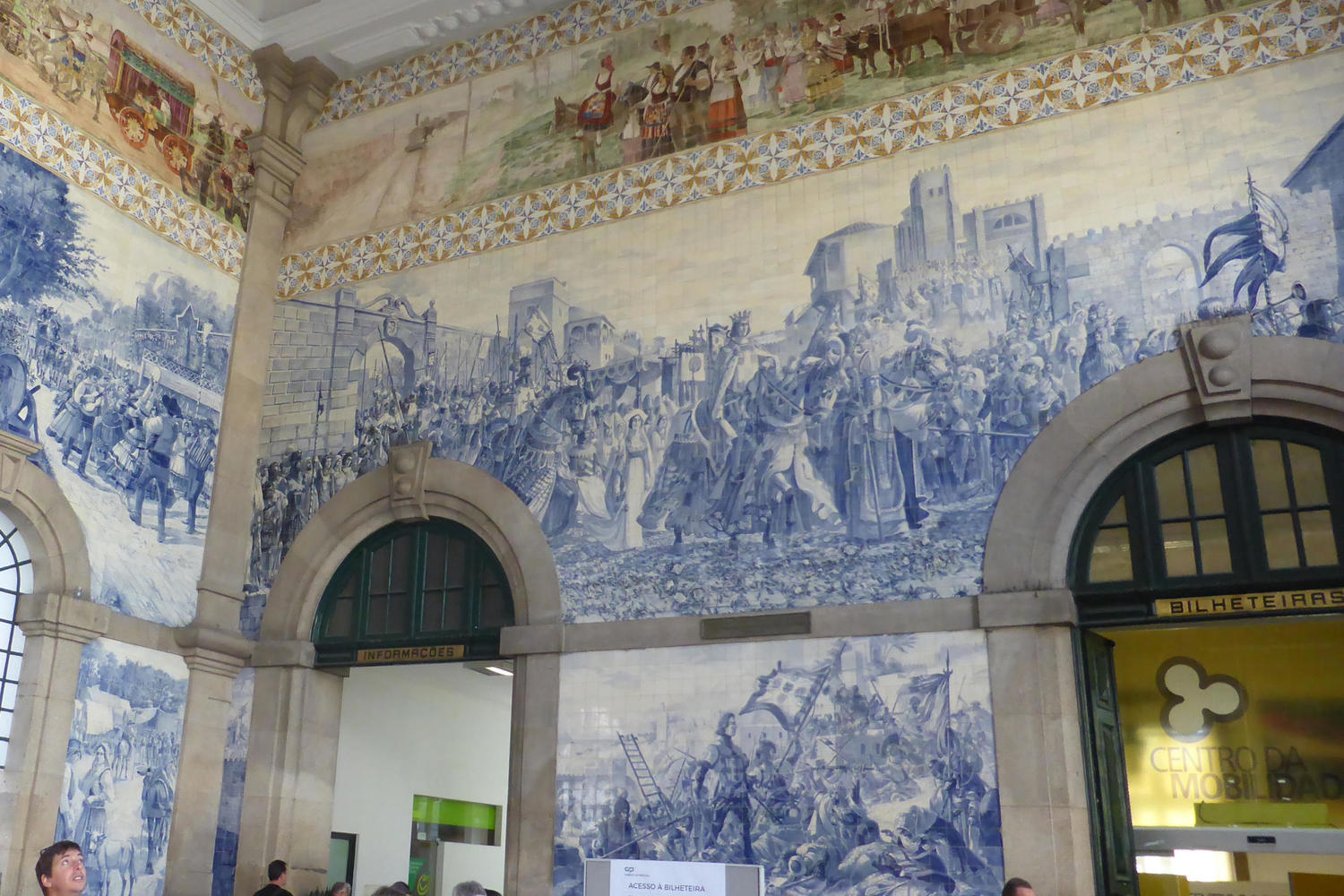 The famous azulejo tiles of Sao Bento train station in Porto
