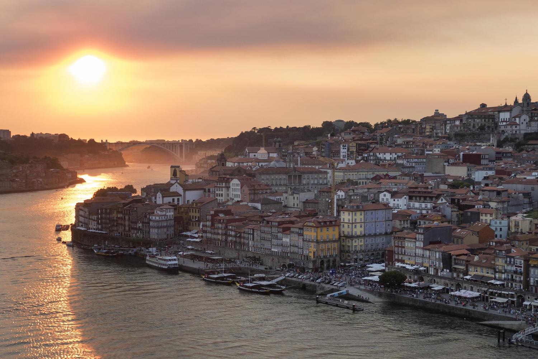 Porto bathed in evening sunshine