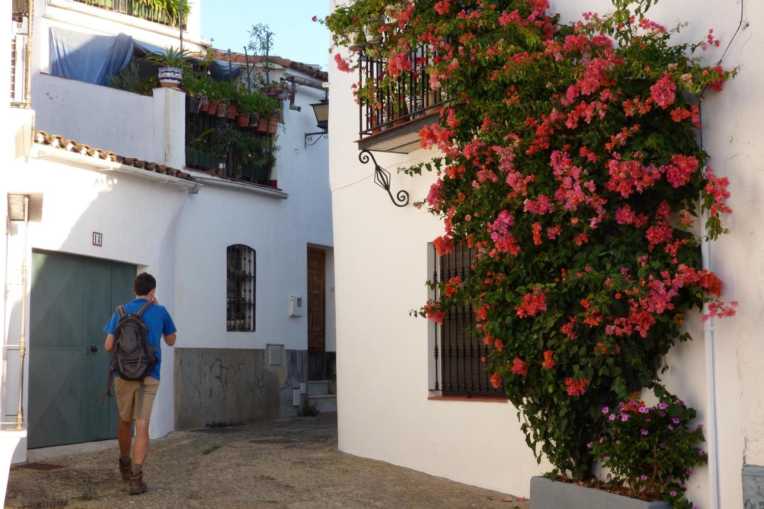 Walking out of the main square of Cortelazor village