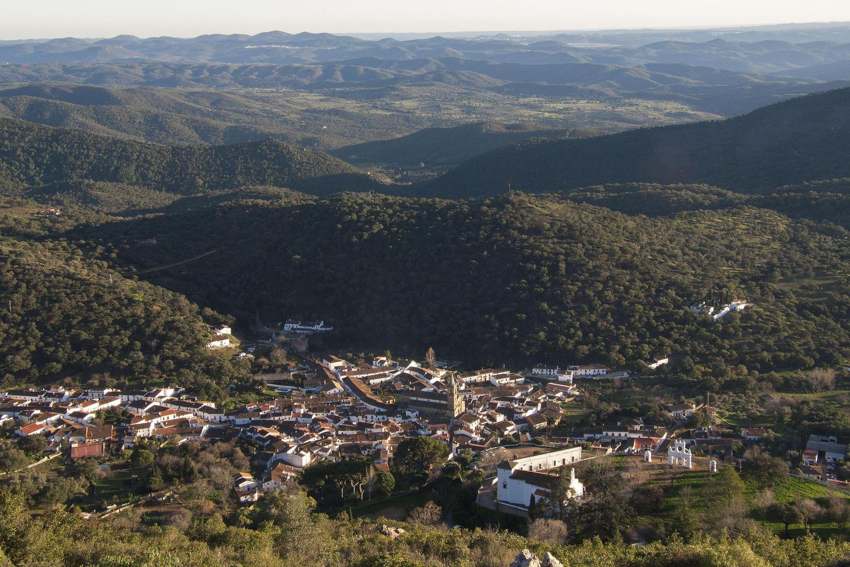 Looking down into Alajar from the top of Arias Montano peak, Aracena