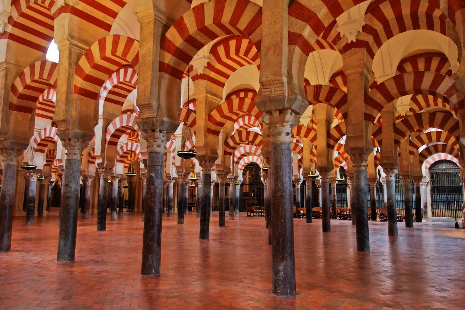 The sea of arches inside Cordoba's great mosque, Andalucia