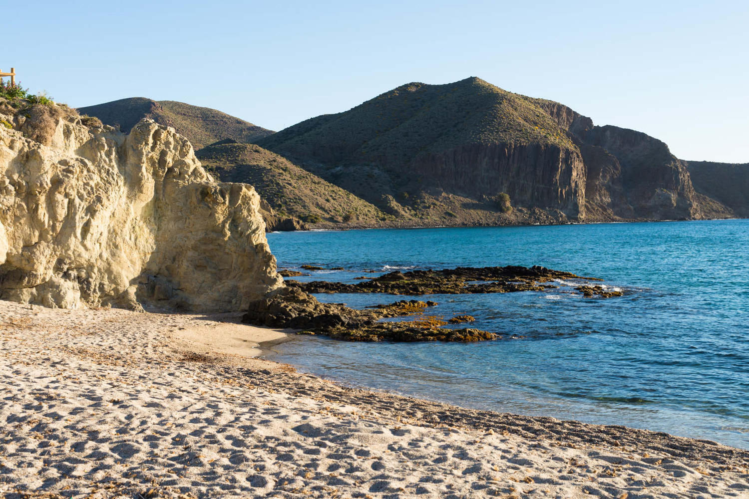 Secluded beach amidst Cabo de Gata natural park