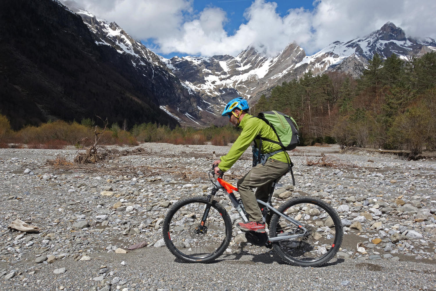Ebike riding under the high peaks of the Pyrenees