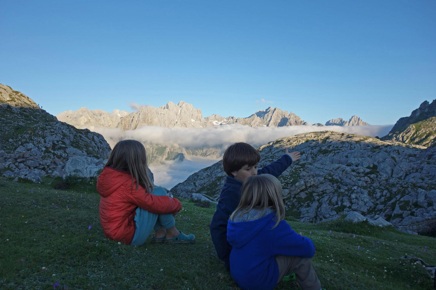 Kids at sunset in Vega de Ario, Picos de Europa