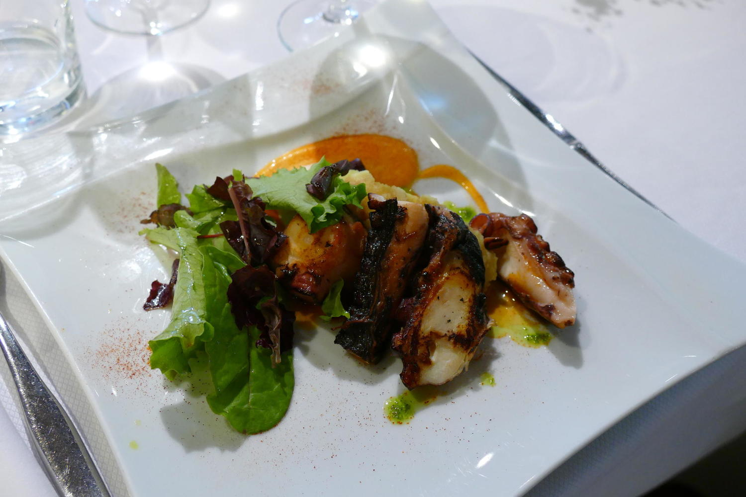 Freshly grilled octopus at the wonderful Akebaso restaurant