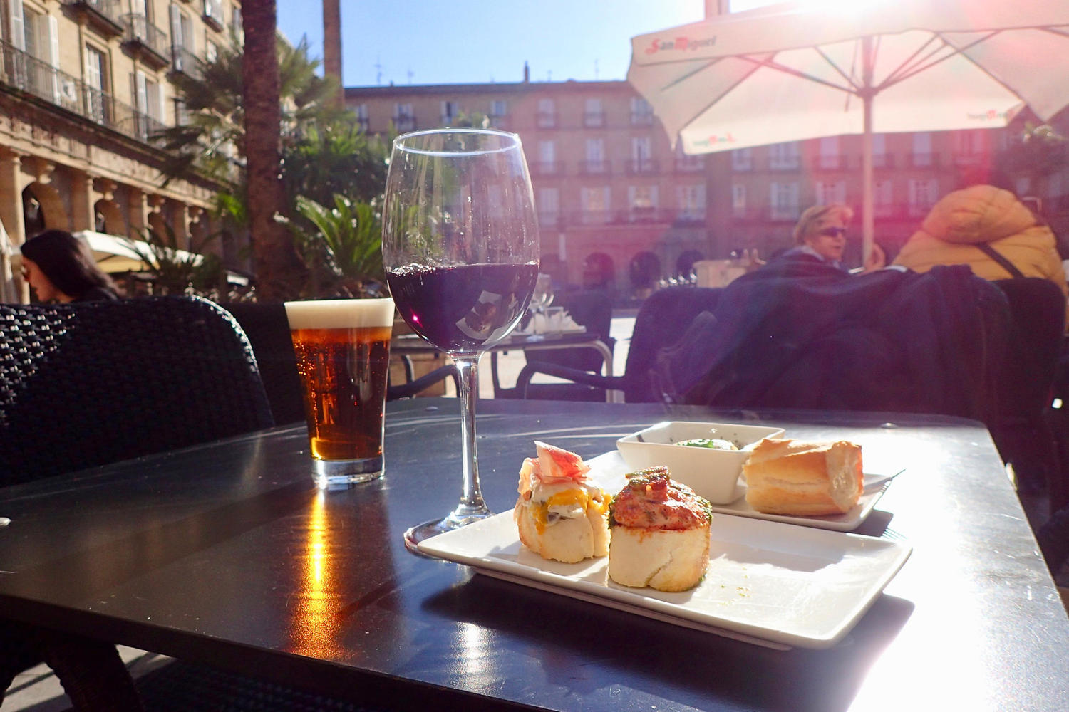 Pintxos lunch in the sun in Plaza Nueva, Bilbao