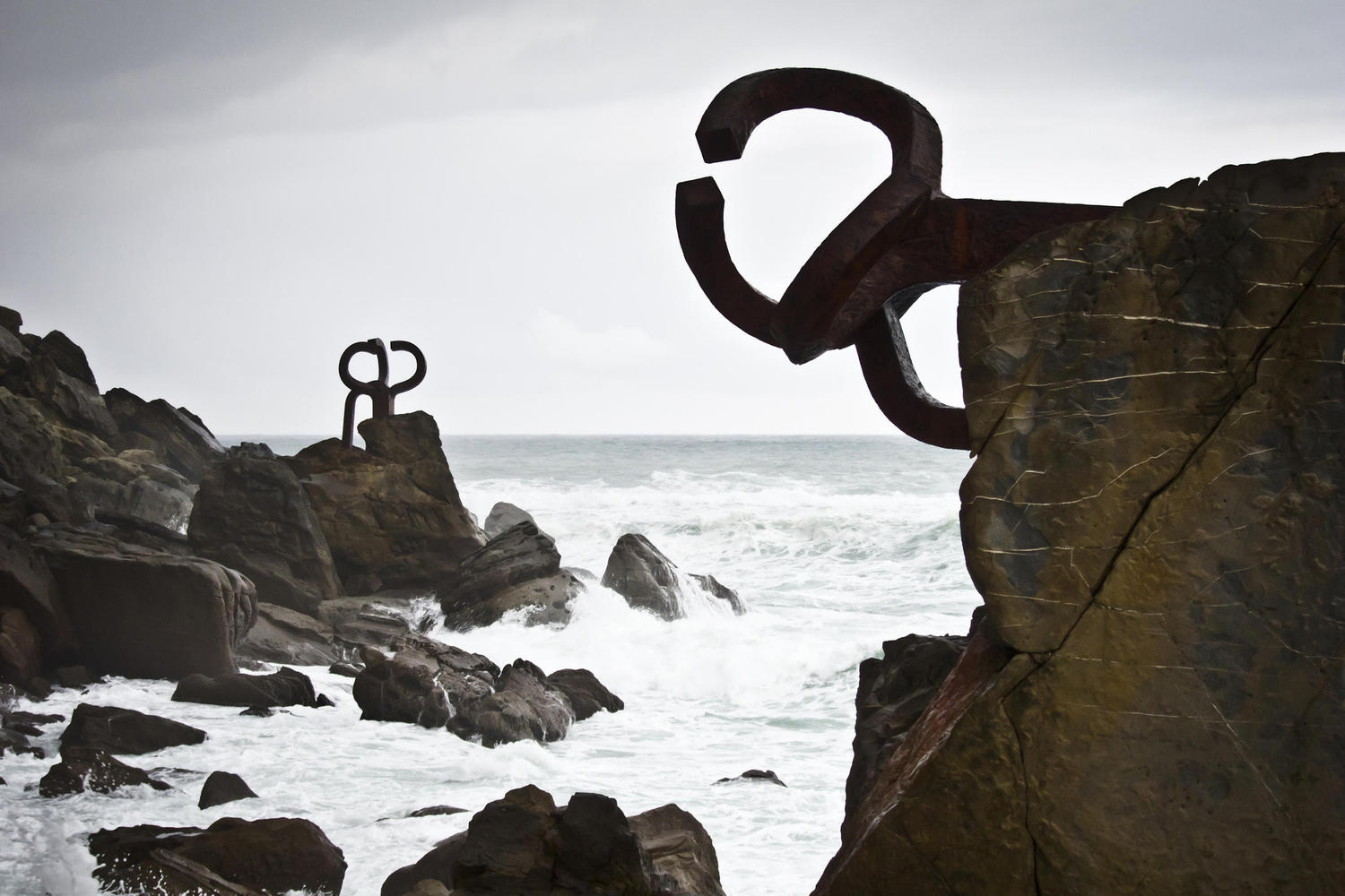 The Wind comb, sculpture in San Sebastian by the famous basque artist Chillida
