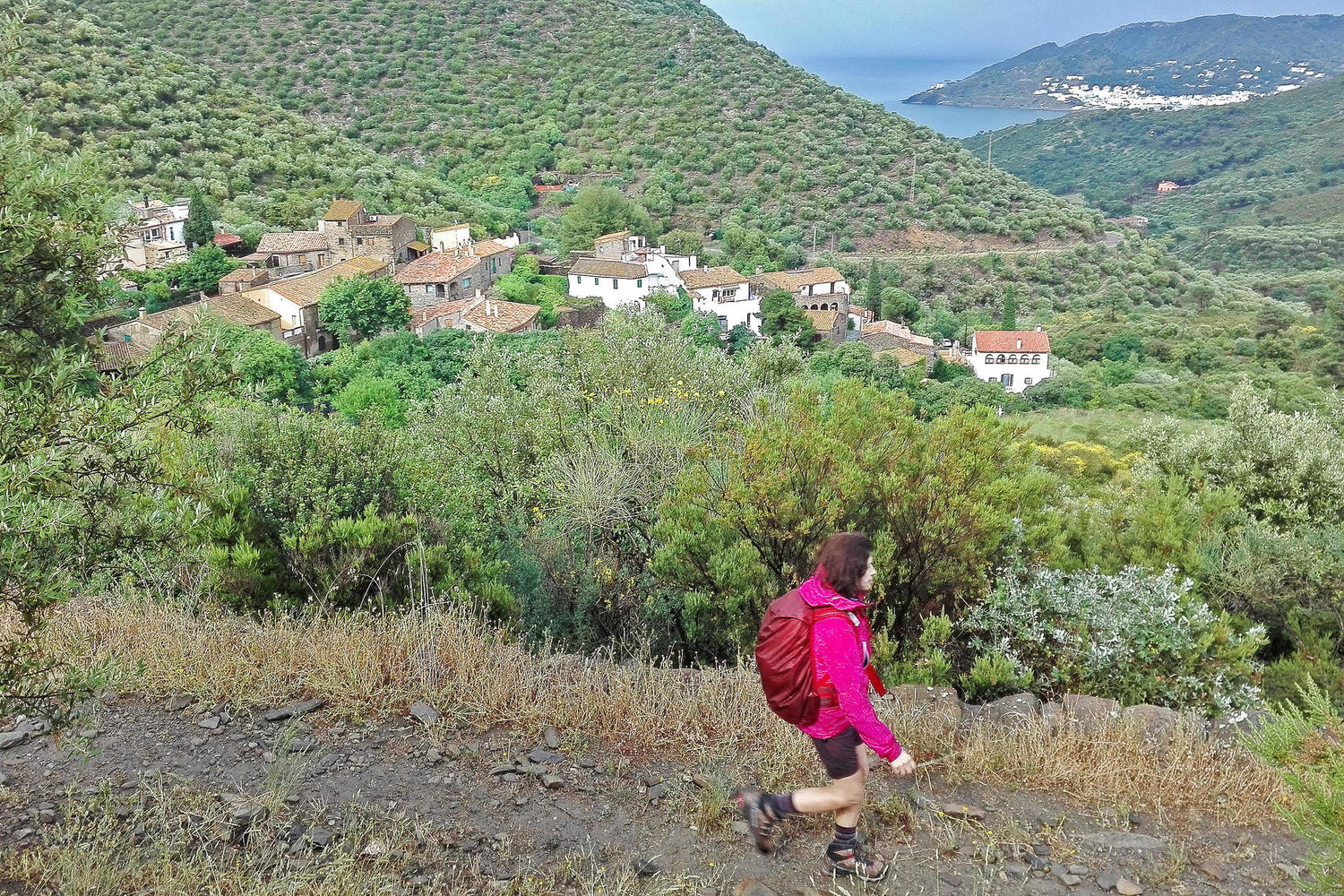 Walking down towards the sea from Sant Pere de Rodes