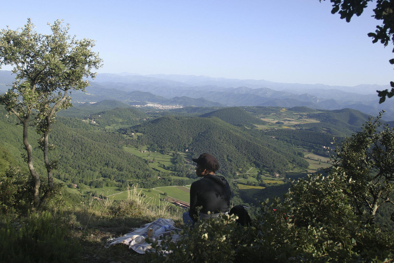 Wide views towards the Mediterranean sea and the Pyrenees from Garrotxa