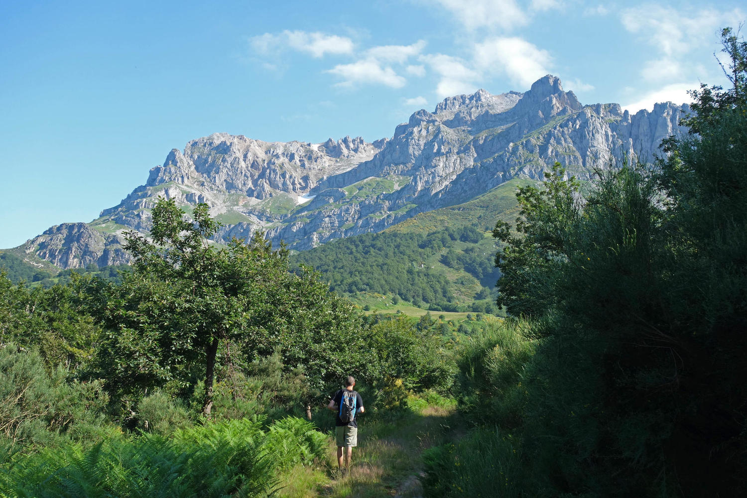 Hiking towards the Vega de Llos in Valdeon valley