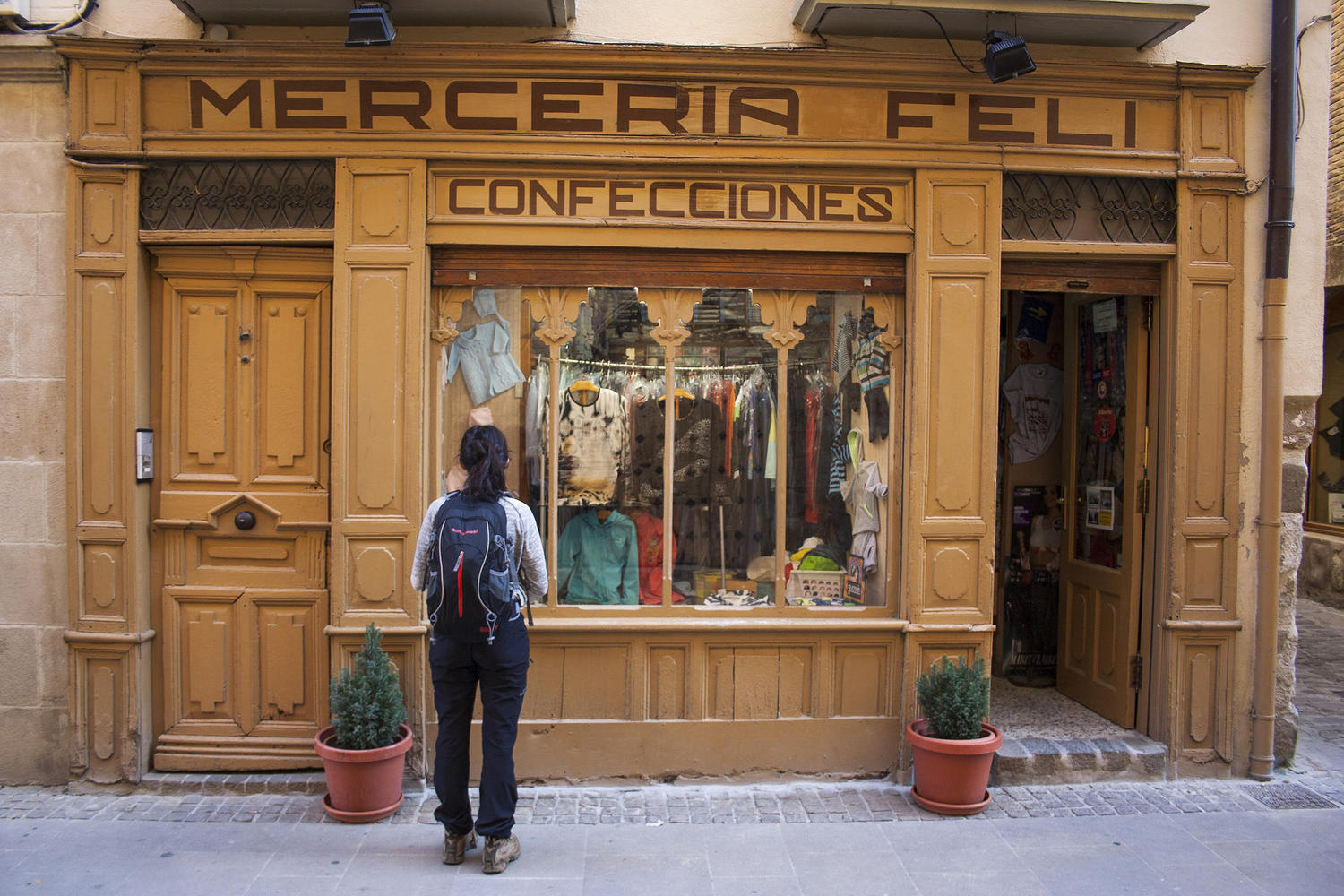 Old shops along the Camino de Santiago