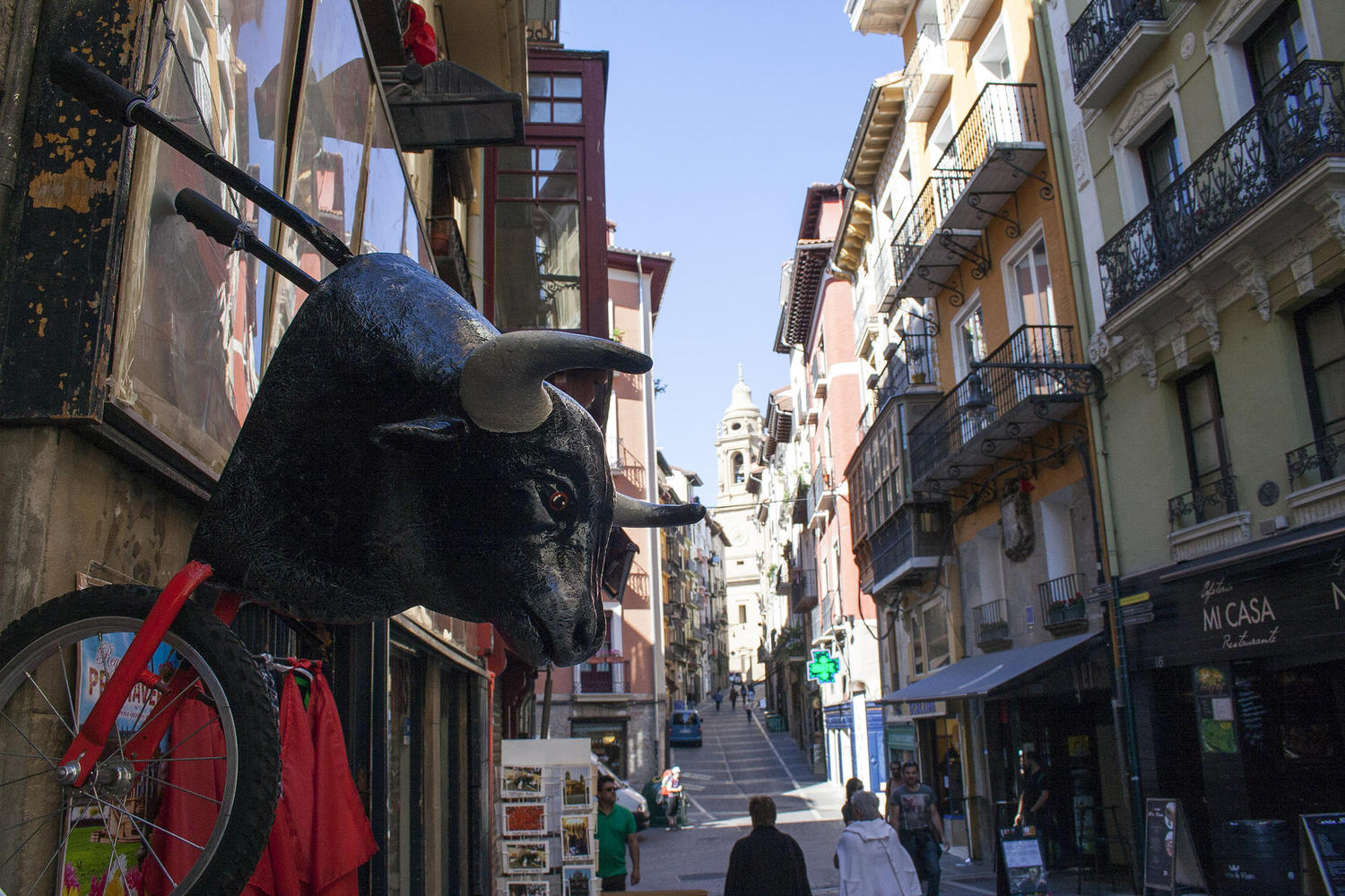 The running of the bulls is always present in Pamplona.