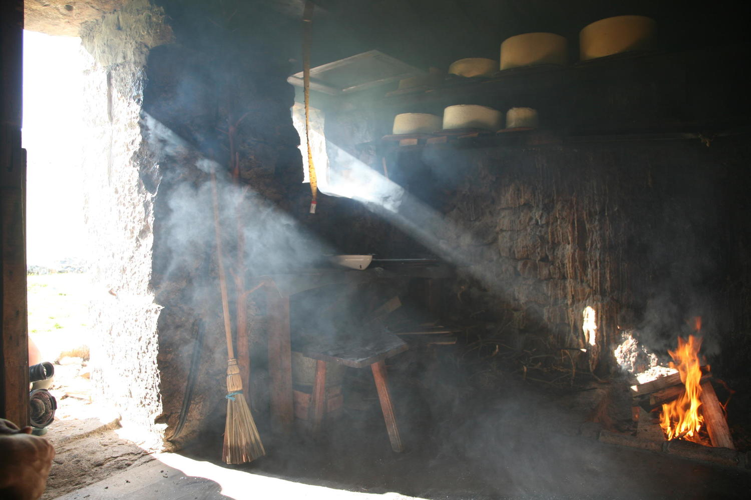 Sunlight entering the cheese curing caves of the Picos