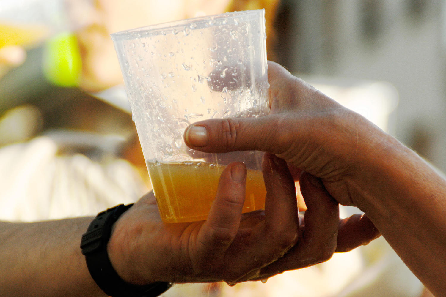 Sharing a glass of cider, the thing to do in Asturias.