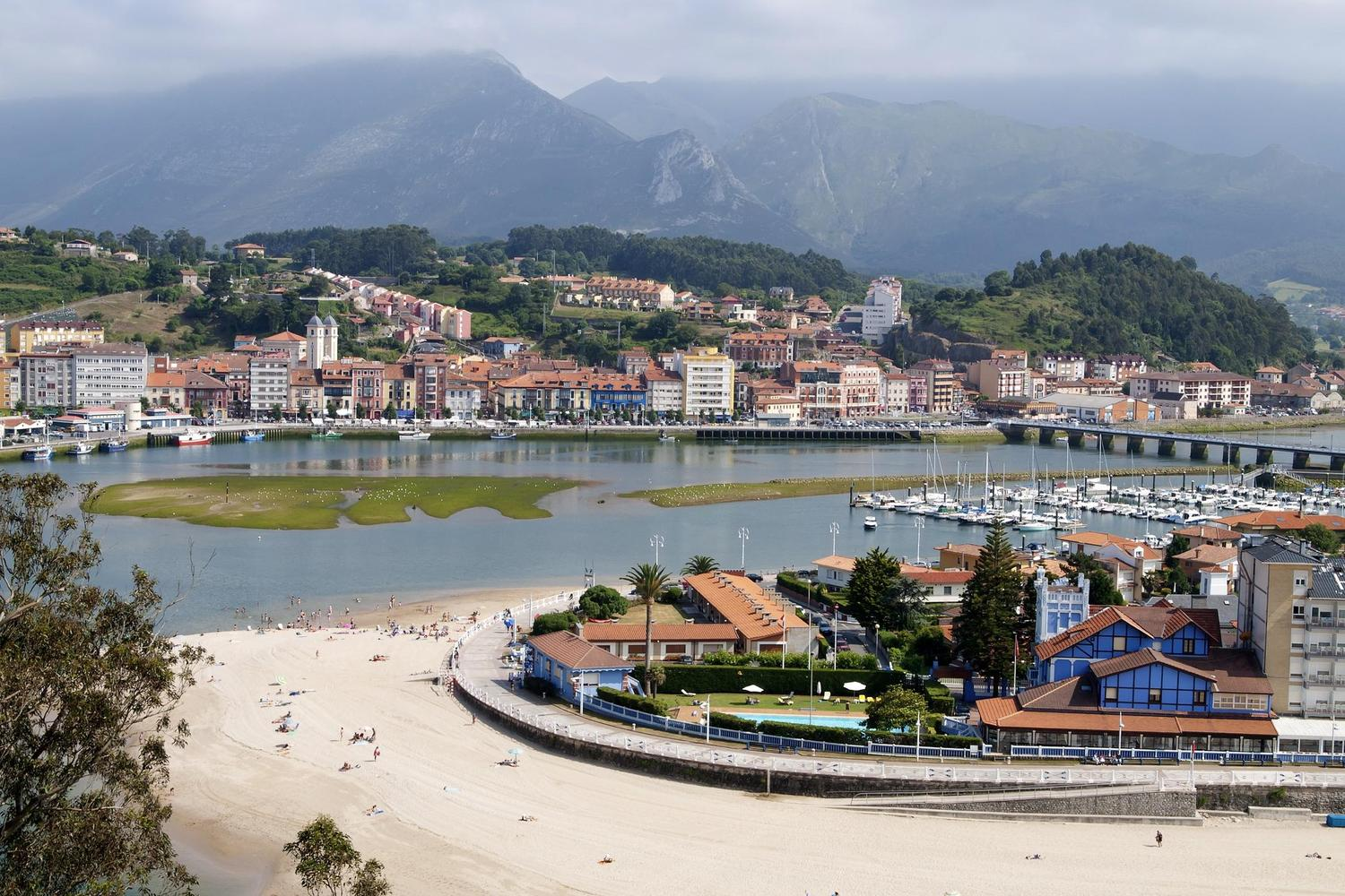 The beach and quayside of Ribadesella, Asturias