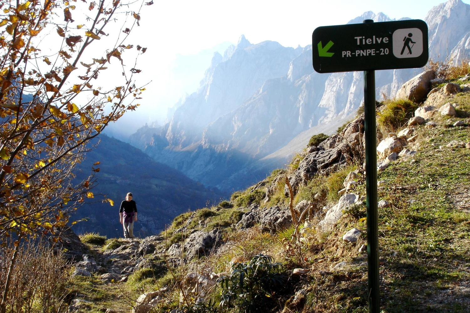 Hiking up from the village of Tielve to the high Picos mountains