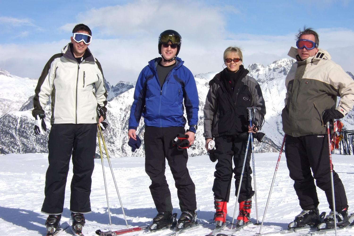 Happy skiers at Cerler in the Spanish Pyrenees