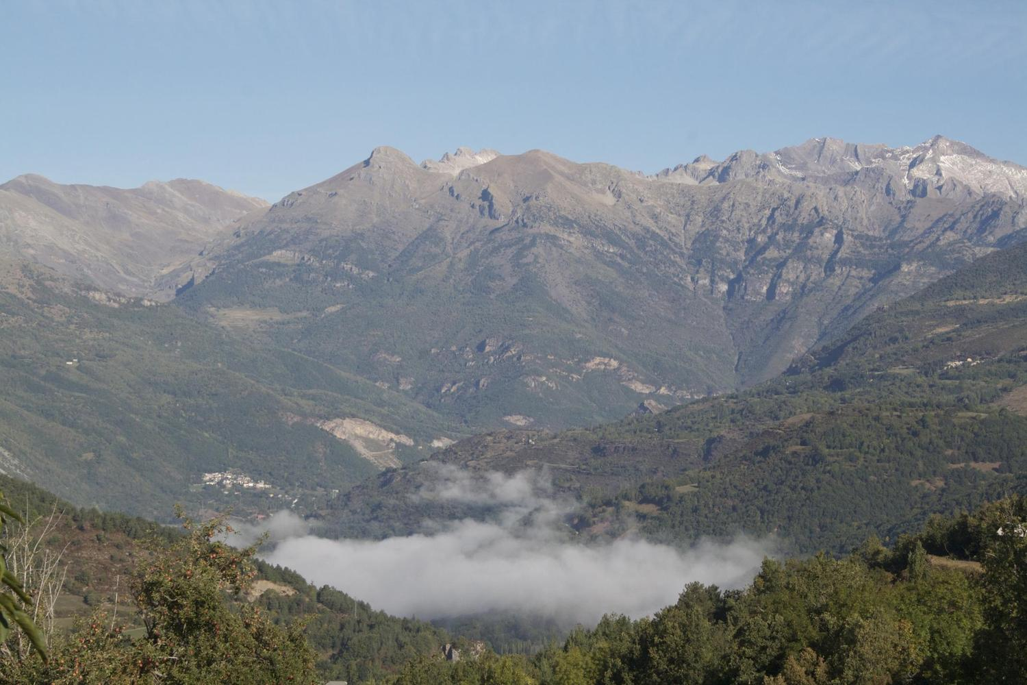 Misty morning looking out from the village of Ainsa