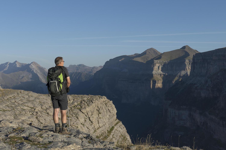 Lone hiker at the Ciarracils viewpoint, Ordesa
