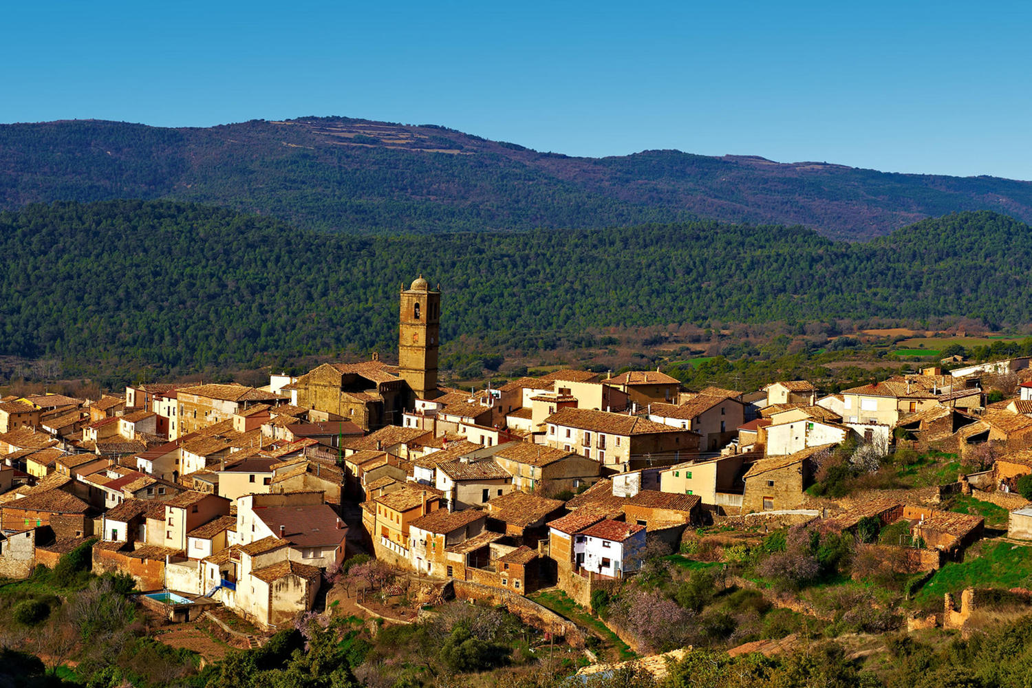 Medieval village in the foothills of the Catalonian Pyrenees.