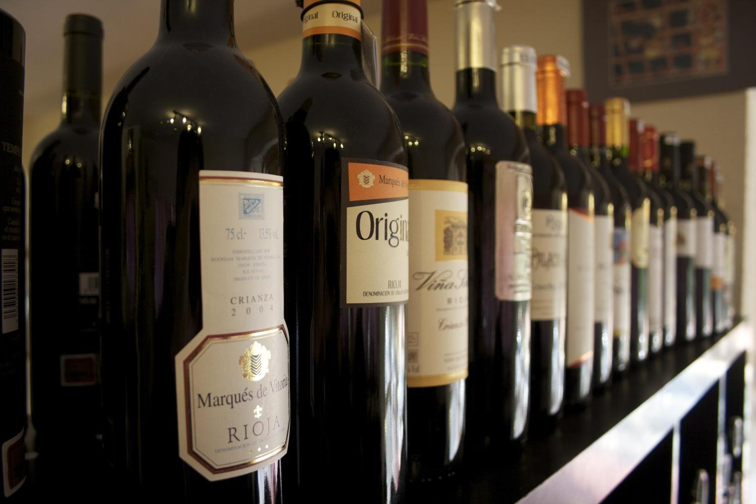 Wines lined up in a Vinoteca in La Rioja