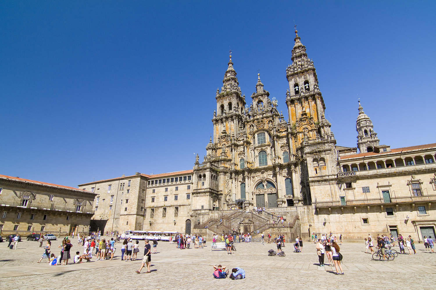 View of Obradoiro square and Cathedral of Santiago