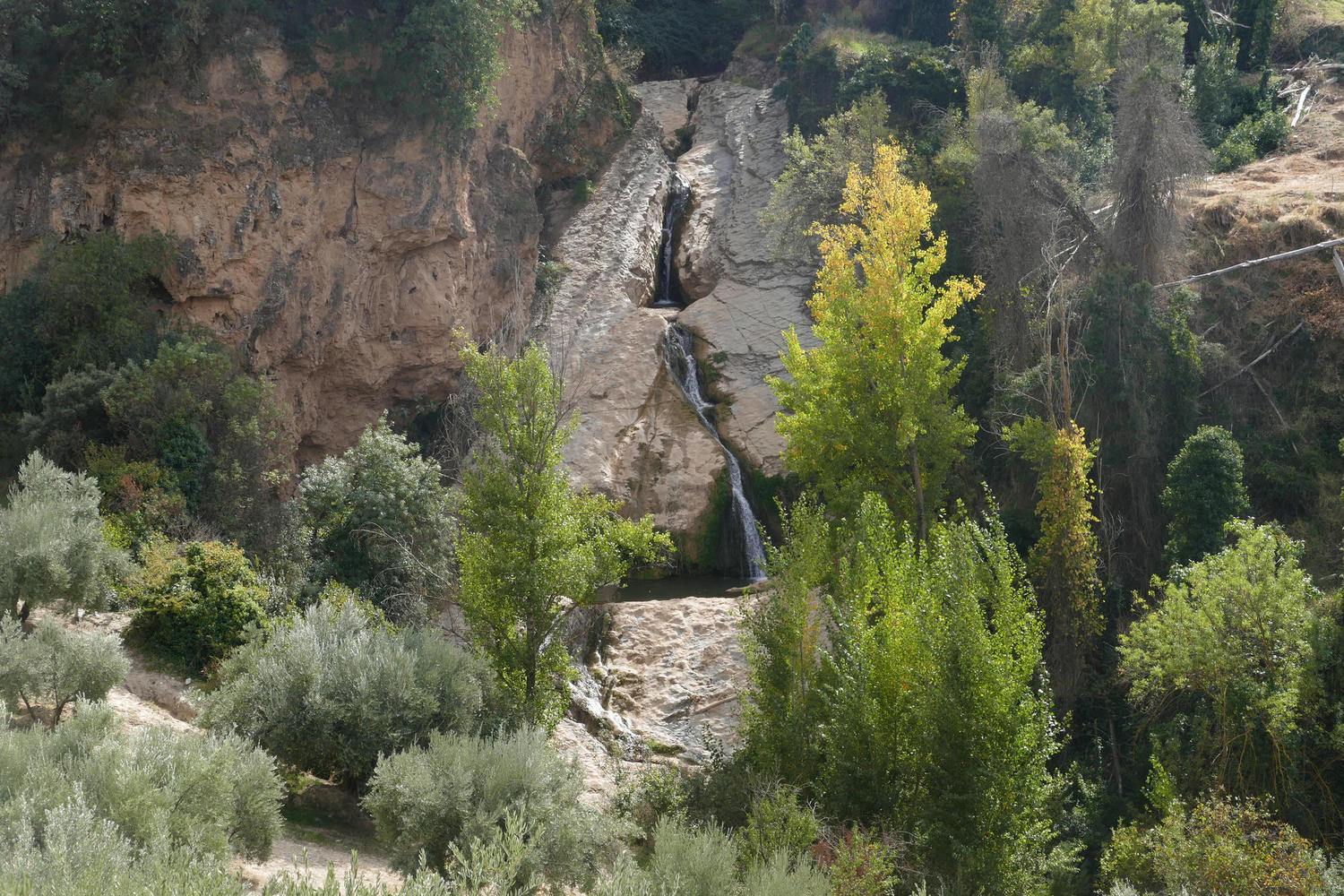Panoramic view of the Salto del Caballo waterfall near Almedinilla