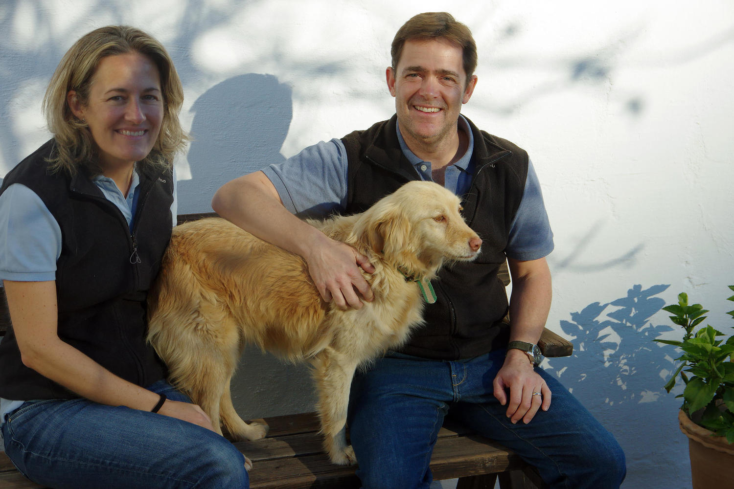 Tim, Claire and their dog ruby in the morning Andalucian sun