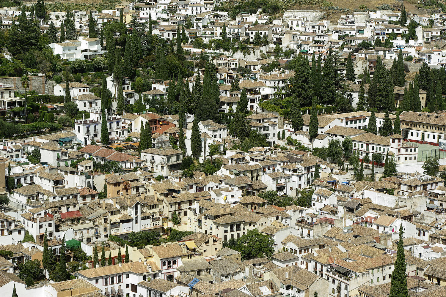 View of Granada's Albaicín district from La Alhambra