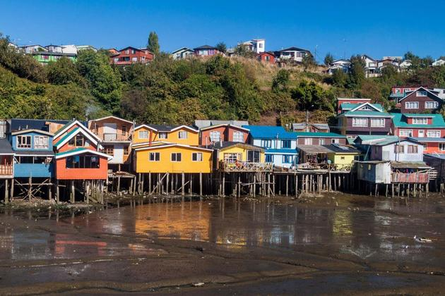 Chile chiloe palafitos stilt houses in castro chiloe island chile