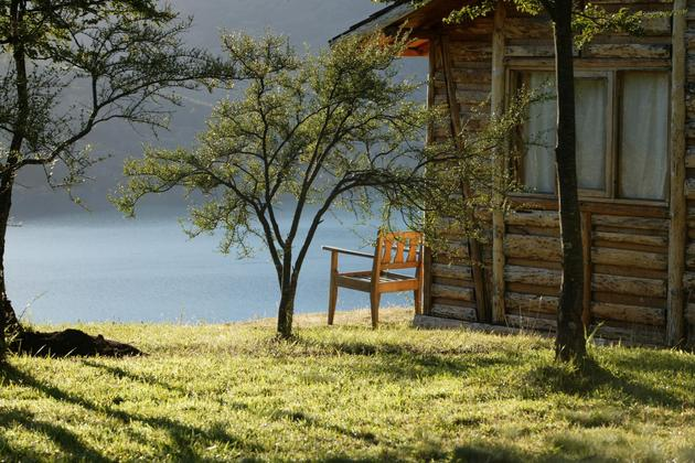 Chile patagonia carretera asutral mallin colorado chair by cabin
