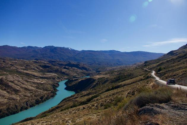 Chile patagonia carretera austral car driving along baker river c pura aventura thomas power