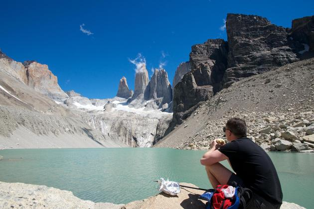 Chile patagonia torres del paine patagonia camp walker sitting towers lake