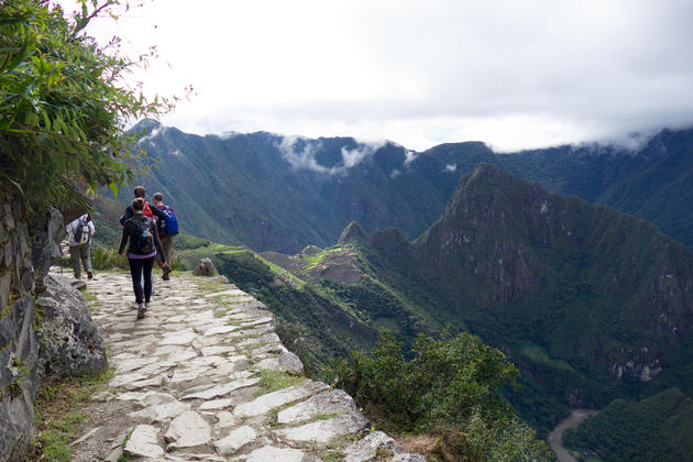 Peru machu picchu walking down from sun gate