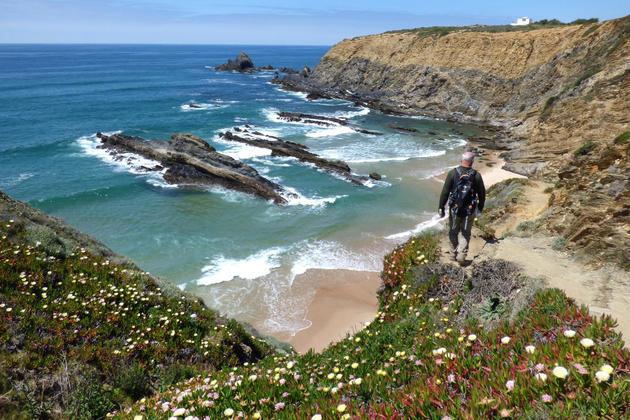 Portugal alentejo rota vicentina cliff hiker flowers c diego pura