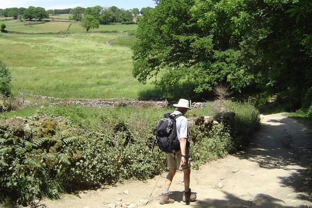 Spain camino de santiago one pilgrim walking sarria portomarin