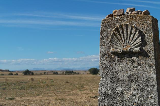 Spain camino de santiago signs on camino